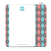 Argyle Betty - Turquoise - Flat Note Card
