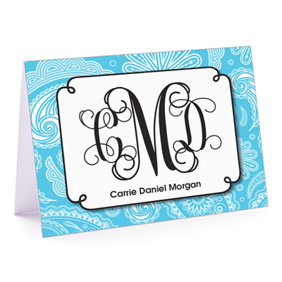 Paisley Monogram Aqua Fold-Over Note Card