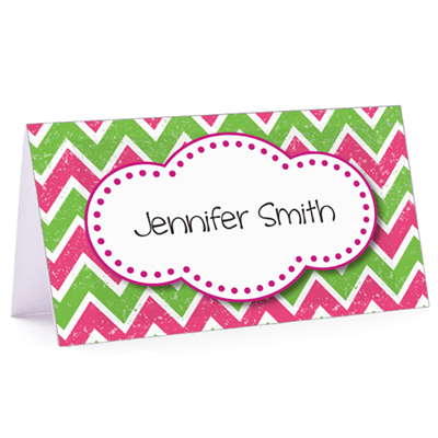Tiny Note Pink & Green Chevron