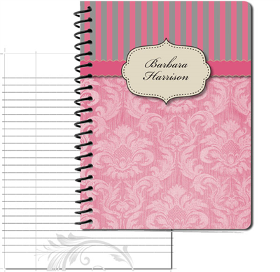 Vintage Pattern 02 Pink - Large Personal Journal