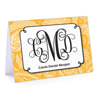 Paisley Monogram Gold Fold-Over Note Card