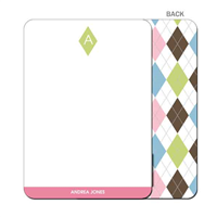 Argyle Connie Green & Pink Flat Note Card