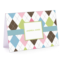 Argyle Connie Blue & Green Fold over Note Card
