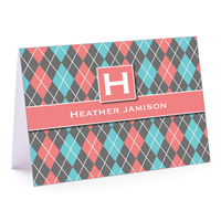 Argyle Betty Coral Fold-Over Note Card