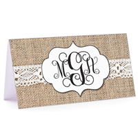 Tiny Note Burlap & Lace Monogram 2