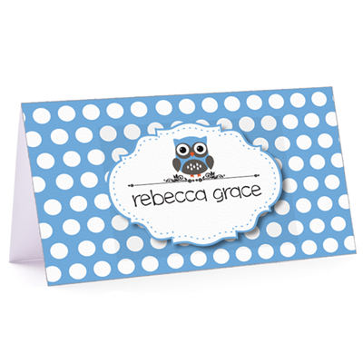 Tiny Note Owl Polka Blue