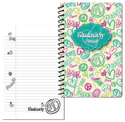 Peace Love Doodle - turquoise - Small Journal