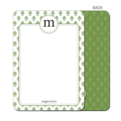 Damask - Green - Flat Notecard